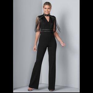 Venus Sleeveless Fringe Jumpsuit Black Gold Size 6